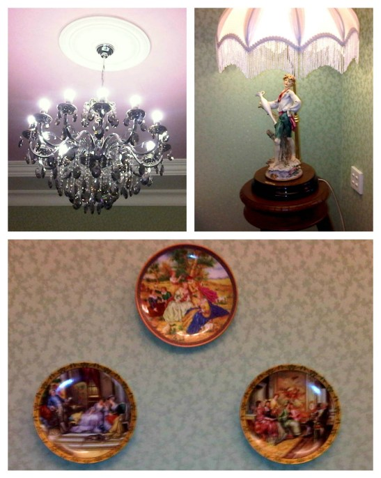 The rococo theme was then continued with fancy crystal chandelier, vintage looking table lamp and decorative plates with pastoral plots,