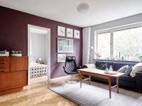 Burgundy And Grey Living Room
