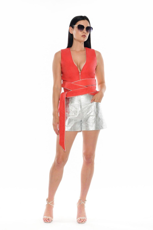 Aelita Belted Crop Vest - Essere Vegano Vegan Clothing