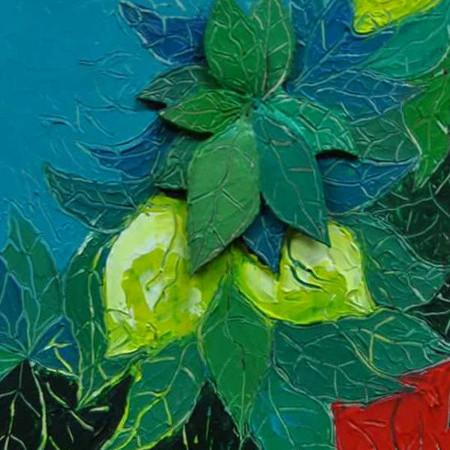 Nel giardino dei limoni - tecnica mista su policarbonato montato su m.d. - cm. 45 x 55