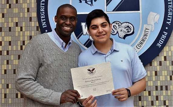West Orange High School freshman receives prestigious award