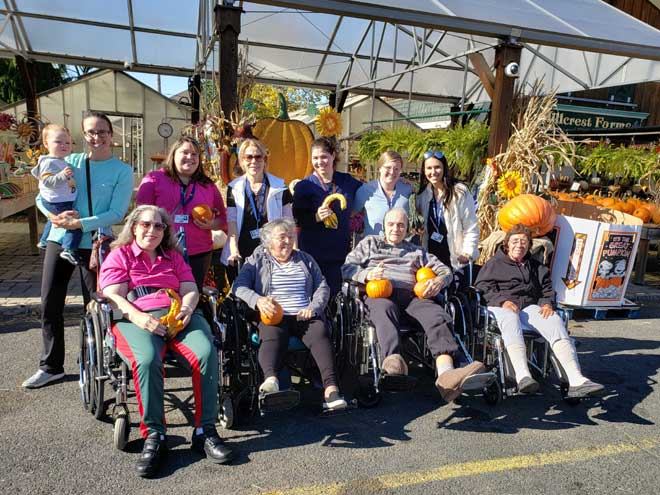 Picking pumpkins and strengthening bodies