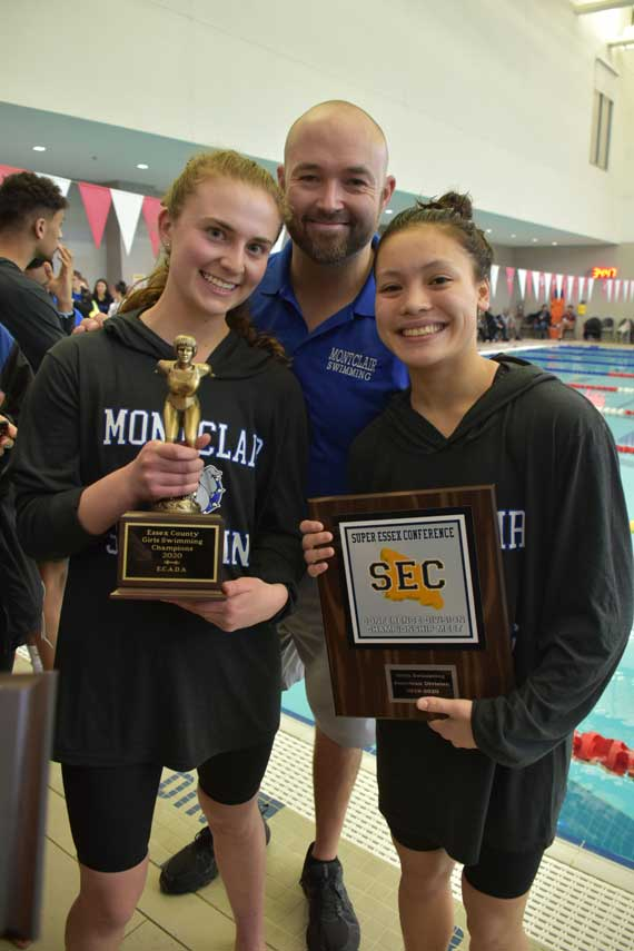 Montclair HS girls swim team splashes to SEC/Essex County title; boys take second place