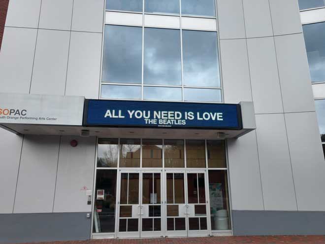 SOPAC lights up marquee with Beatles message of love