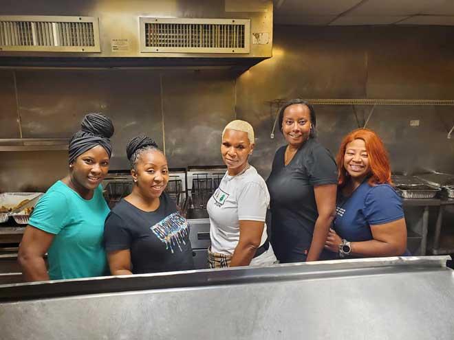 Jaguar moms serve up a fish fry for EOCHS football fundraiser
