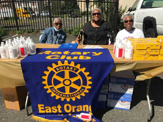 East Orange Rotary gives school supplies, hand sanitizer to community