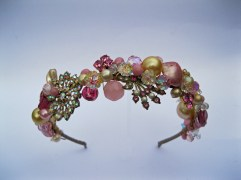 Candy pink and butter yellow baroque headband £320