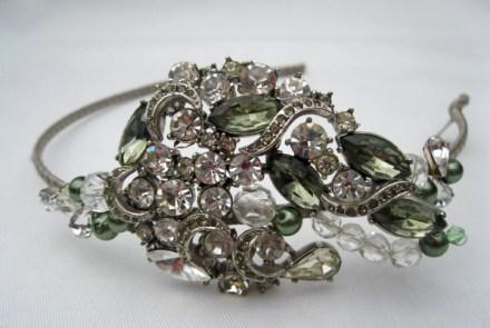 Cherished 1950s 'Sphinx' diamante and olive rhinestone hairband