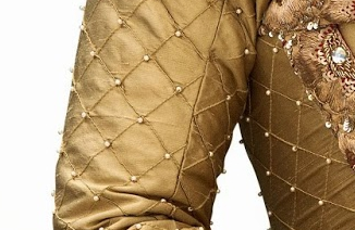 Cropped image of the pearls on the real dress.
