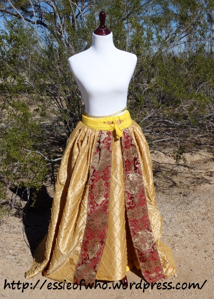 Front of the underskirt and the overskirt together.