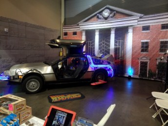 Back to the Future Delorean inside the exhibtion hall