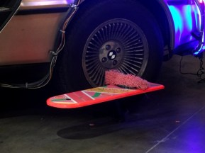 Hoverboard beside the Delorean's wheel