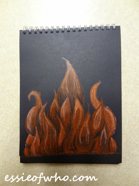 black paper sketch fire