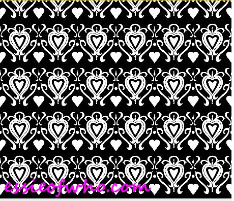 heart damask fabric design 1