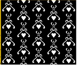 heart damask fabric design 2