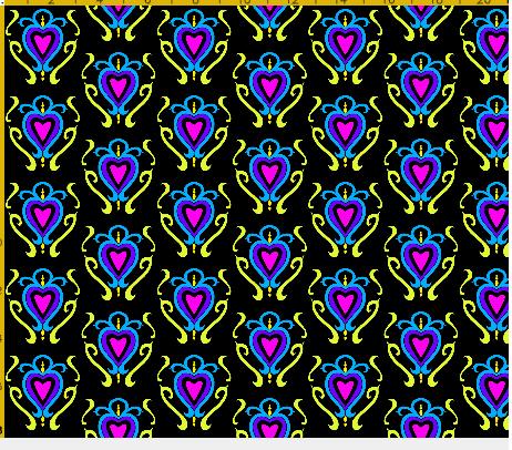 heart damask fabric design 4