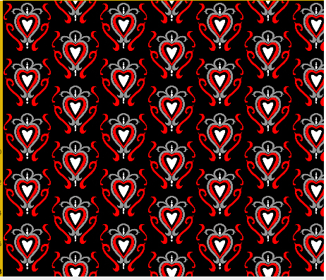 heart damask fabric design 7