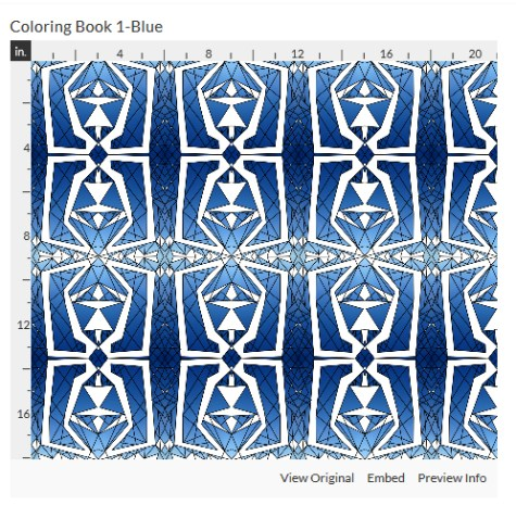 coloring book 1 blue fabric design