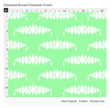 diamond broach green fabric design