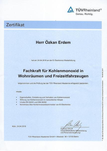 Kohlenmonoxid Zertifikat