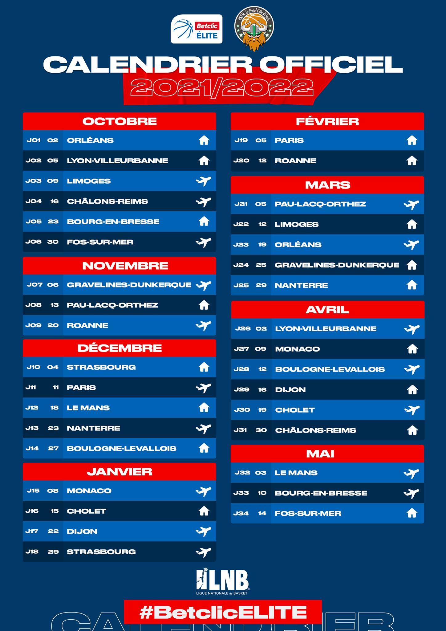 Calendrier Jeep Elite 2022 Le calendrier saison 2021 2022 | ESSM Le Portel Côte d'Opale
