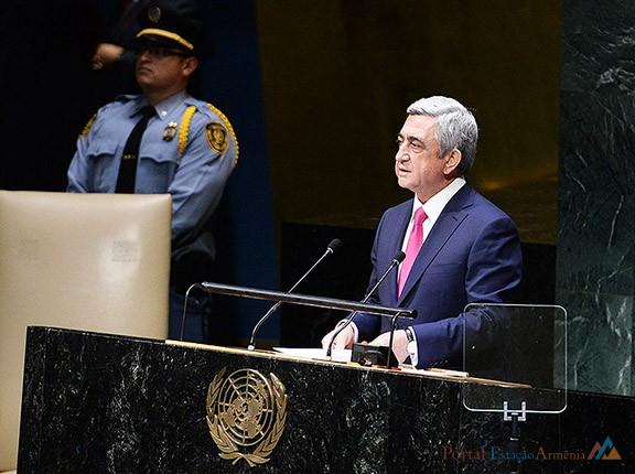 Presidente da Armênia em discurso à Assembleia Geral das Nações Unidas