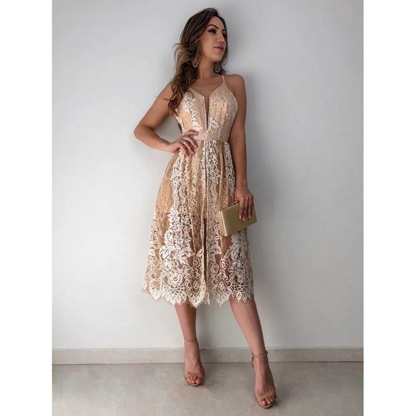 Vestido Midi Renda Izabela - Estacao Store