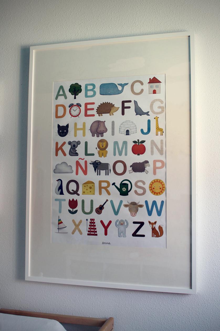 Lámina de abecedario infantil. Decorar la habitación del bebé, pequeños detalles