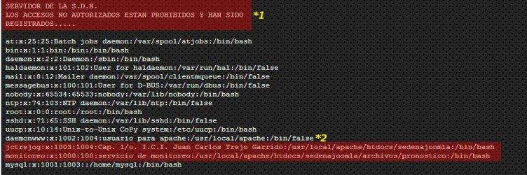 Listado de usuarios en el servidor de internet de la SEDENA