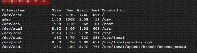 Listado de discos conectados al servidor SEDENA