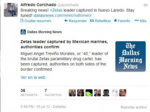 Tweet que da a conocer la nota de @ajcorchado