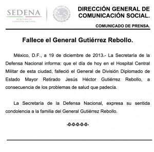 Comunicado de Prensa Sedena. Foto: Especial