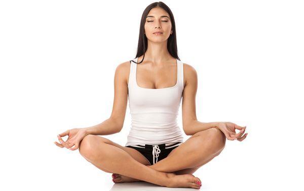 hoe te mediteren.  Sukhasana positie