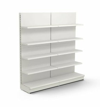 Módulo doble de estanterias metálicas comerciales de línea blanca ñ