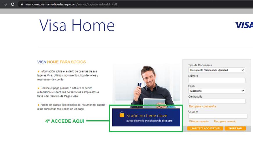 Crea tu usuario en Visa