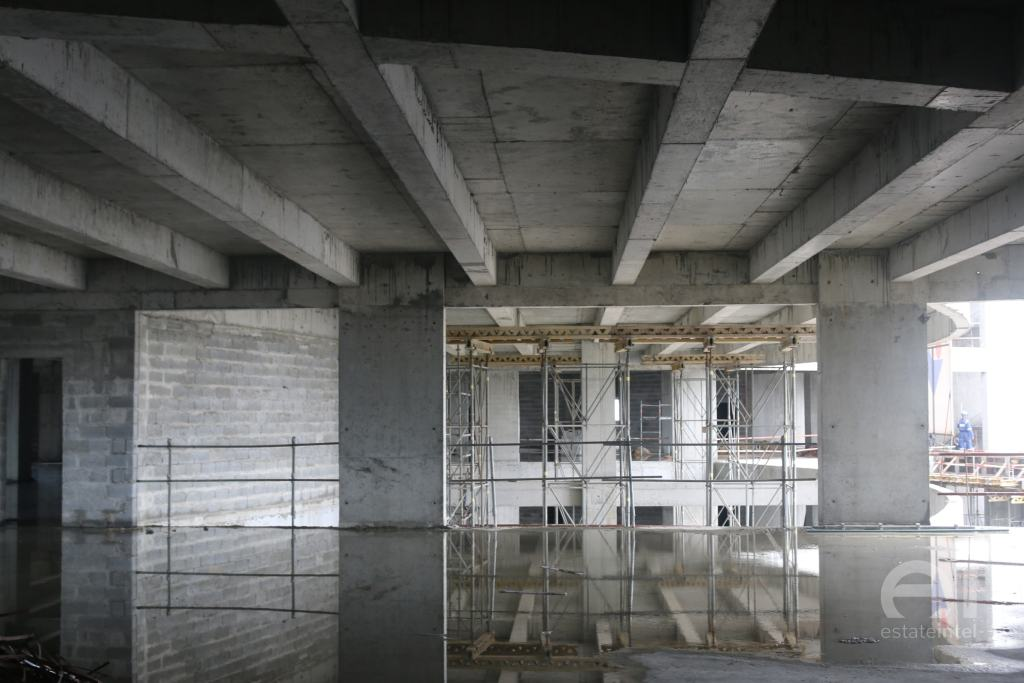 A spacious floor currently under construction at the Trinity Towers