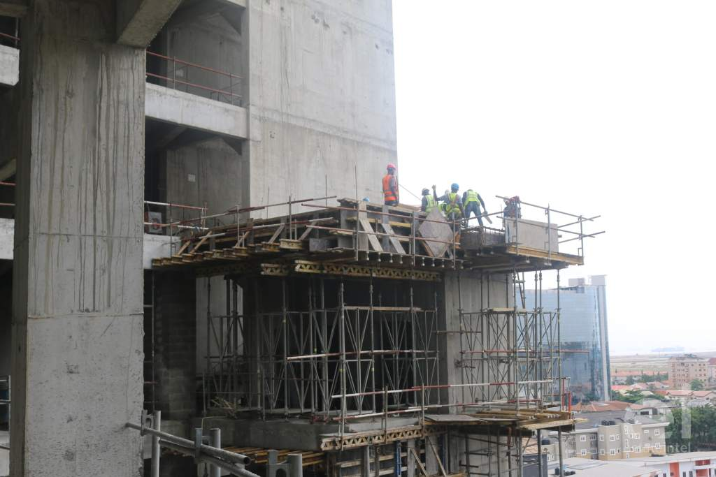 Picture of 4 construction workers working on Trinity Towers