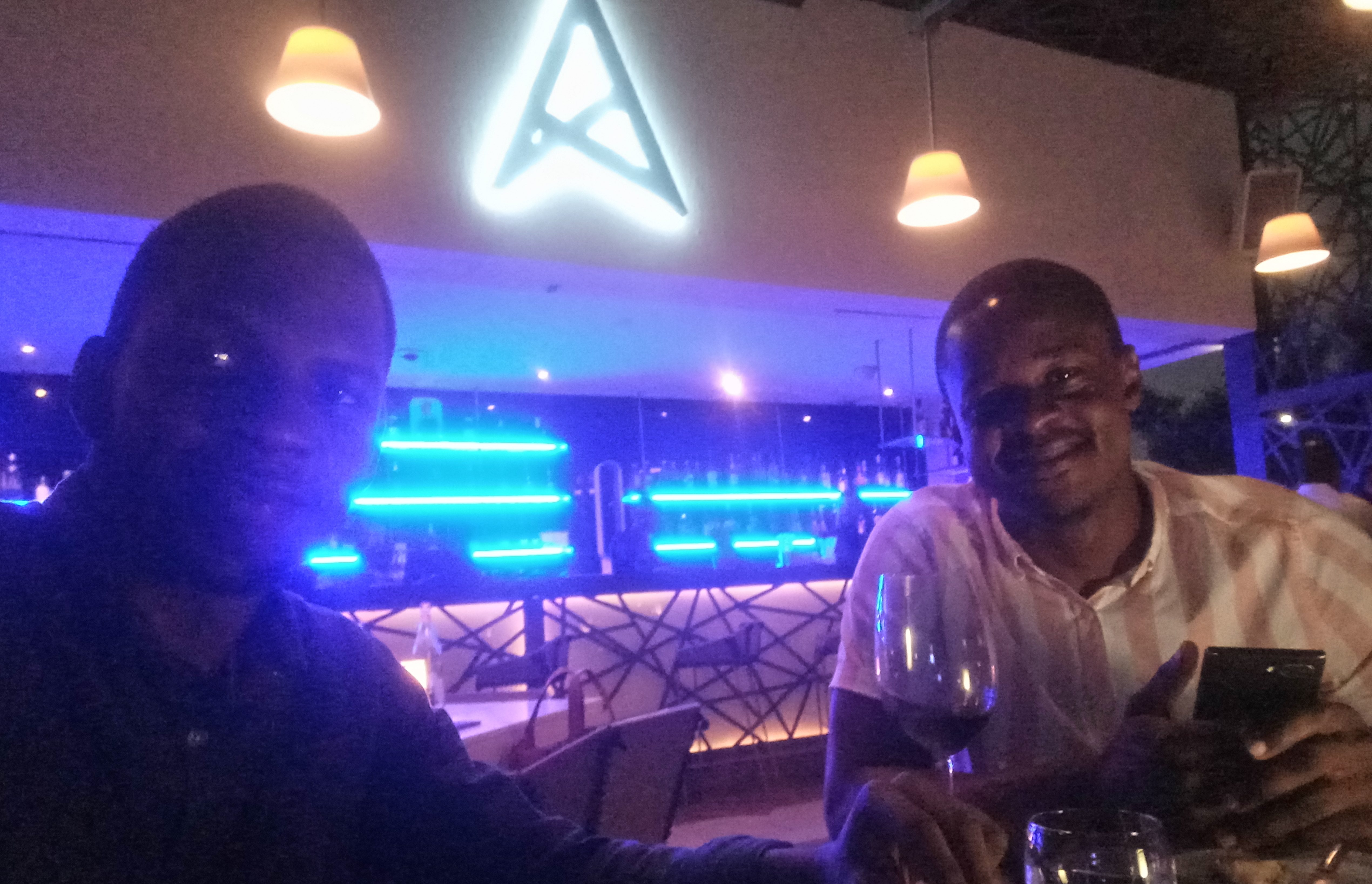 Dolapo and I at the Sky-lounge on Ghana's Tallest Residential Building.