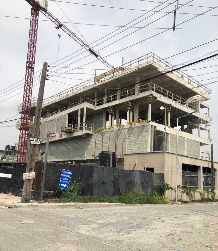 Construction site of the The Amore Multiplex building in Lekki Phase 1, Lagos