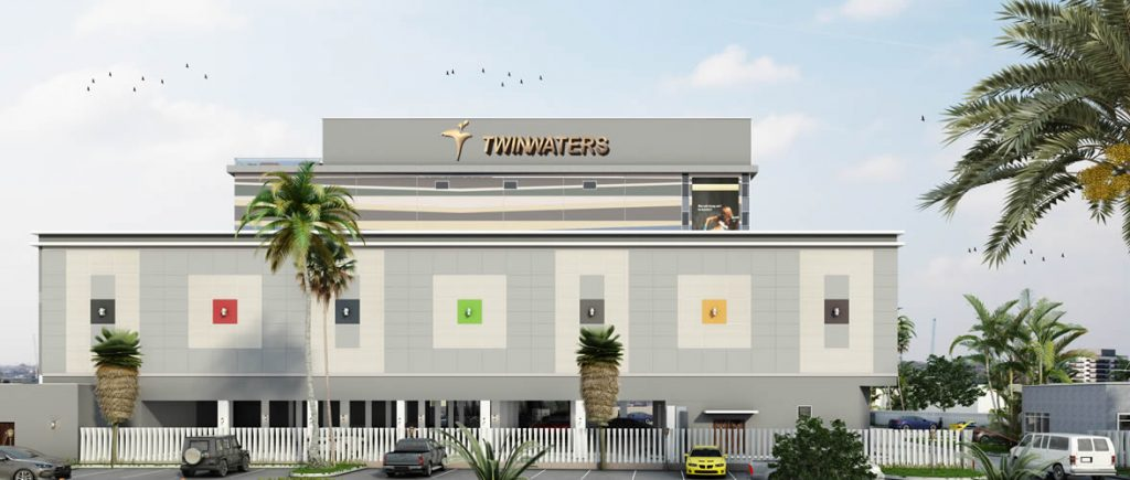 Development: Twin Waters Entertainment Centre, Lekki Phase 1 (Right), Lagos. Image Source: Twin Waters