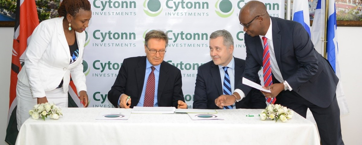 From L-R: Elizabeth N. Nkukuu, Chief Investments Officer-Cytonn Investments, Marko Backström, Legal Counsel-Taaleri, Juhani Elomaa, CEO - Taaleri & Edwin H. Dande, Managing Partner and CEO-Cytonn Investments welcoming Taaleri to Cytonn Investments by signing the visitors book. Image Source: Cytonn