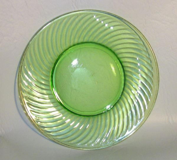 Three Green Depression Glass Plates SOLD  The Estate of Rue