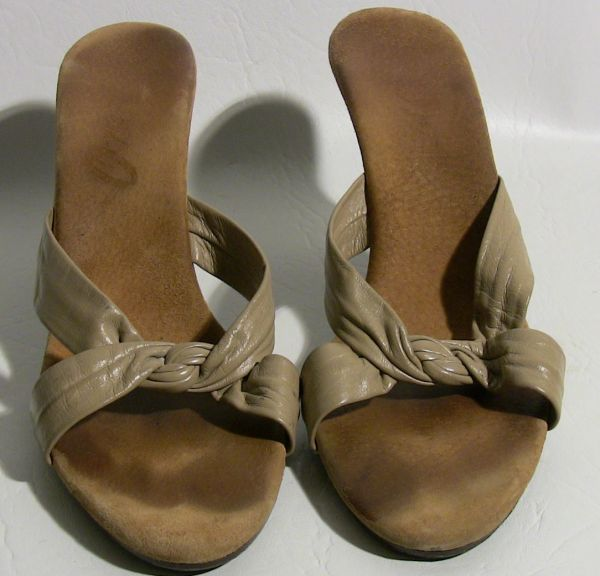 Blanches Taupe Leather Mules SOLD  The Estate of Rue