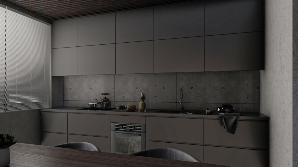 Küche mit Beton im Kontrast zu schwarzem Lack