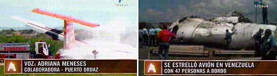 Avión estrellado en Venezuela