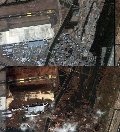 Aeropuerto de Sendai antes y después del terremoto de este 11 de marzo de 2011