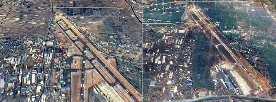 Imágenes de sátelite del aeropuerto de Sendai (Japón), antes (izquierda) y después de la catástrofe. (REUTERS / Formosat image / Dr. Cheng-Chien Liu)
