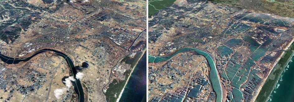 Imágenes de satélite de las localidades de Iwanuma y Natori, al sur de la ciudad japonesa de Sendai, antes y después del terremoto y el tsunami. (REUTERS / Formosat image / Dr. Cheng-Chien Liu)