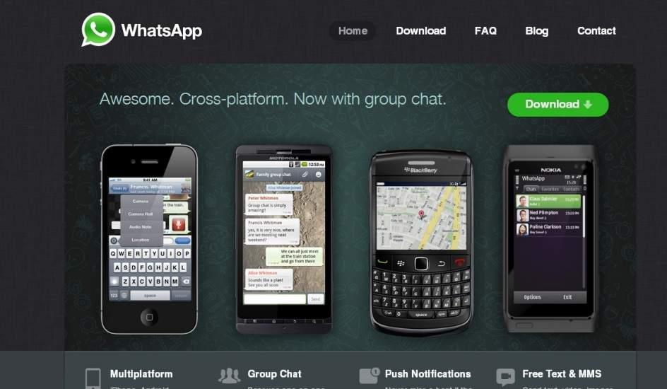 Página web de la aplicación Whatsapp. (WHATSAPP)