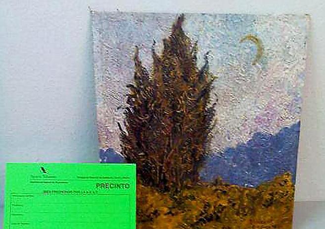 El lienzo de Van Gogh 'Ciprés, cielo y campo'.